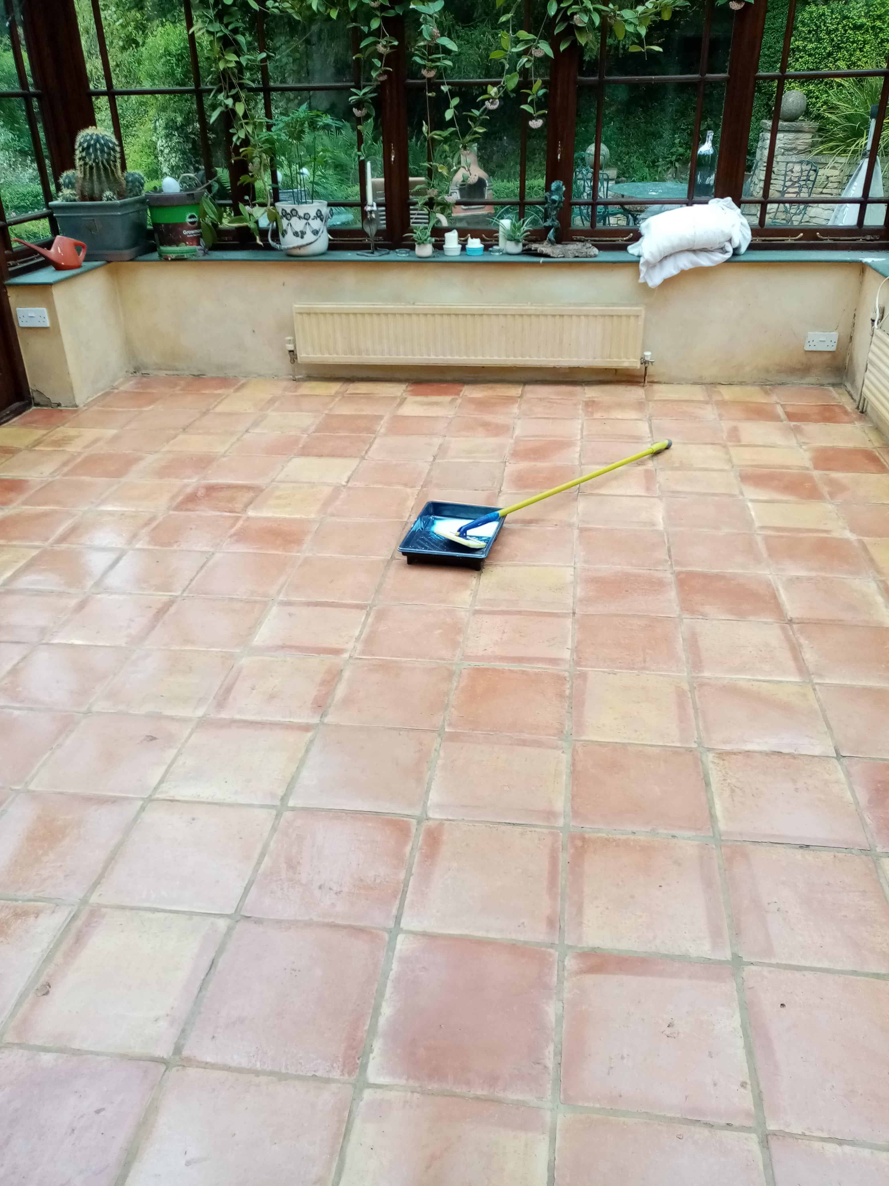 Terracotta Conservatory Floor Dursley During Sealing