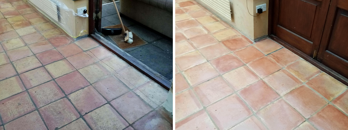 Wax Covered Terracotta Conservatory Floor Renovated in Dursley
