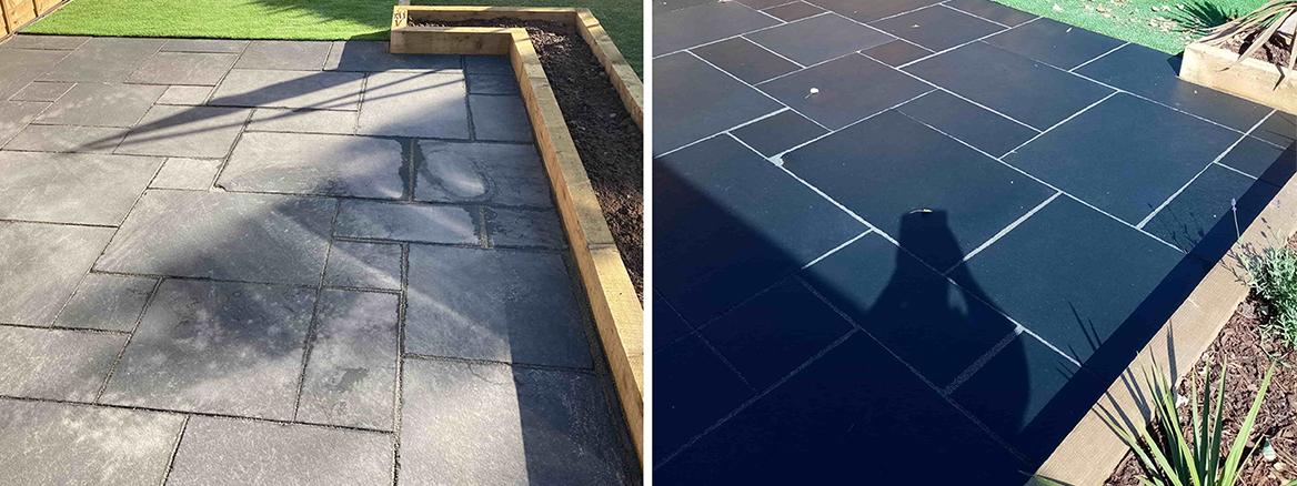 Acid Damaged Black Limestone Patio Restored in Dursley