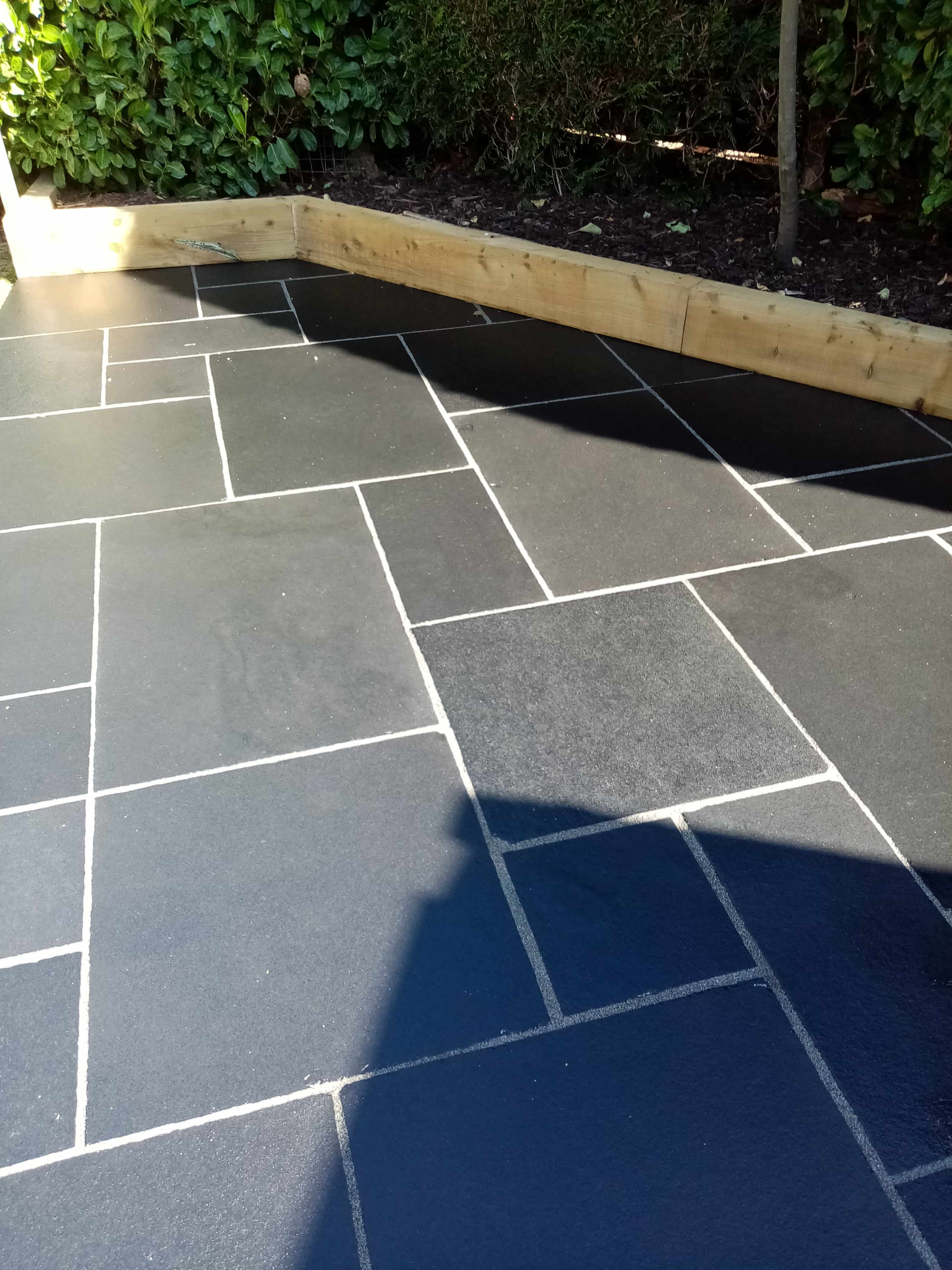 Black Limestone Patio After Renovation Dursley