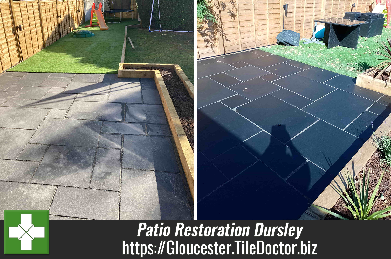 Ruined Black Limestone Patio Restored in Dursley